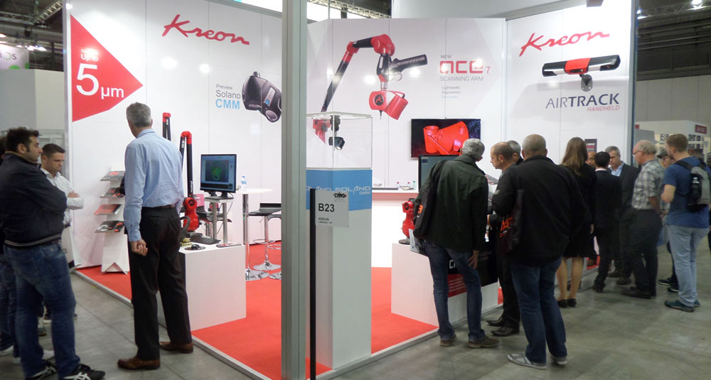 Many people are present at Kreon Technologies Booth at EMO milano