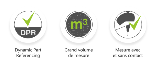 AirTrack caractéristiques : Dynamic part referencing, grand volume de mesure et mesure avec et sans contact