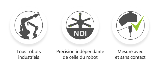 Caractéristiques du AirTrack : Tous type de robots industriels, précision indépendante de celle du robot, mesure avec et sans contact