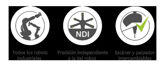 AirTrack Robot : Todos los robots industriales / Precisión independiente a la del robot / Medidas con o sin contacto
